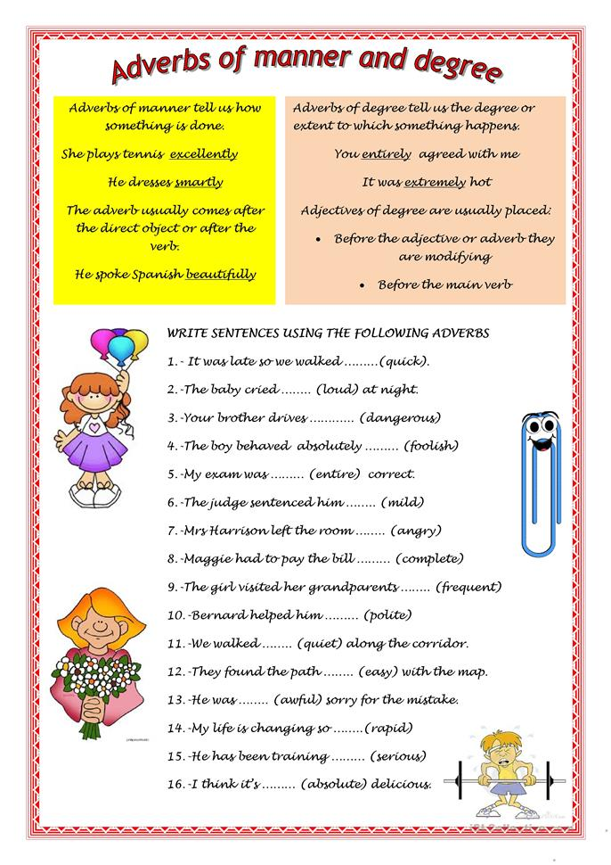 ADVERBS OF MANNER AND DEGREE worksheet - Free ESL ...
