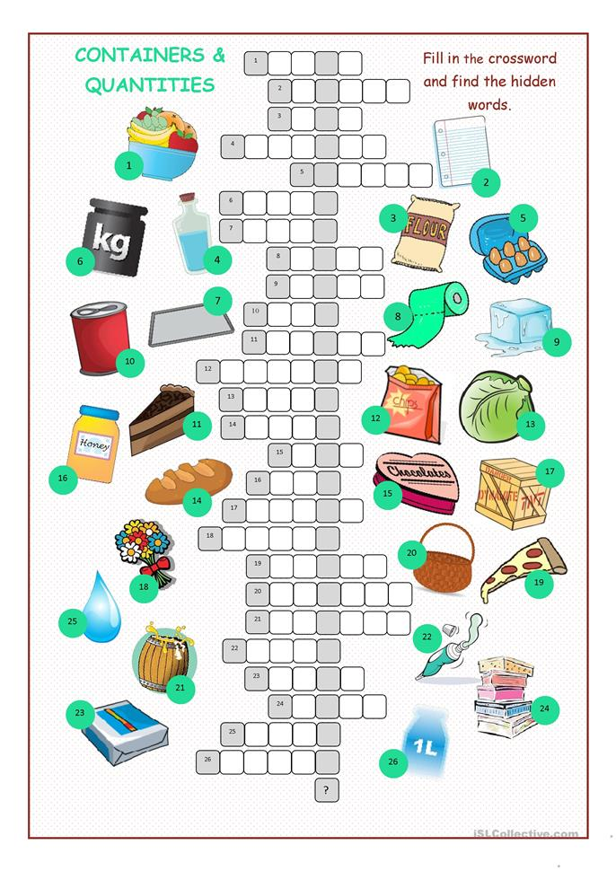 Containers Amp Quantities Crossword Puzzle Worksheet Free