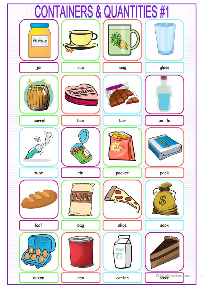 Containers u0026 Quantities Picture Dictionary#1 worksheet - Free ESL printable worksheets made by ...