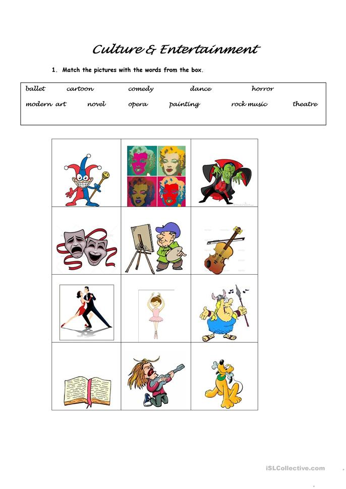 Free Printable Entertaining Worksheets : Culture and entertainment worksheet free esl printable