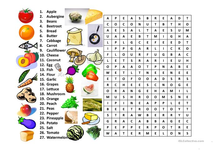 Food Word Search worksheet - Free ESL projectable worksheets made by ...