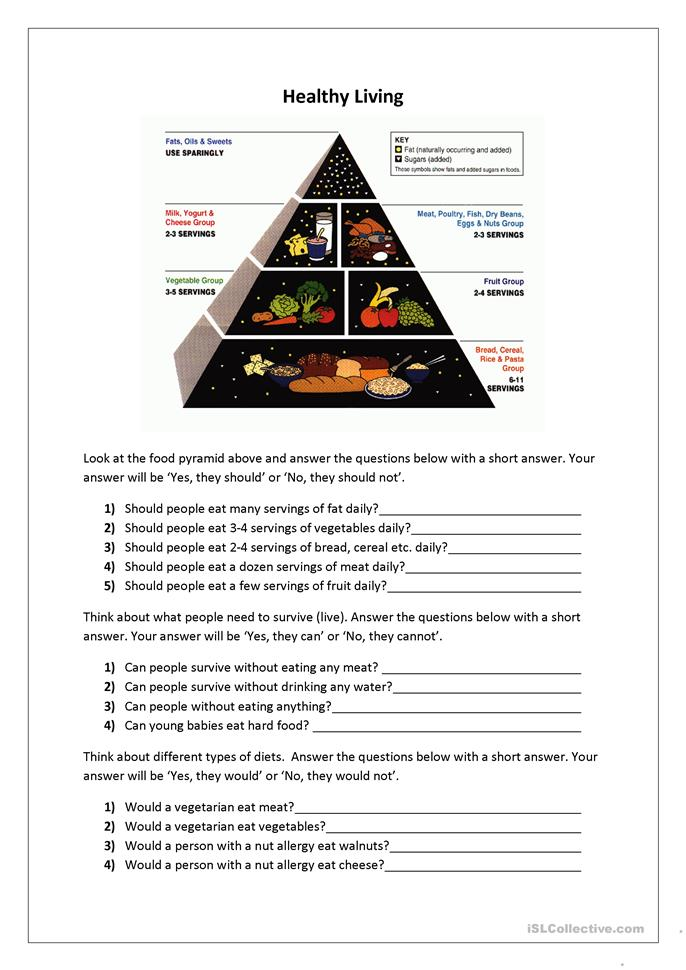 Healthy Living worksheet - Free ESL printable worksheets ...