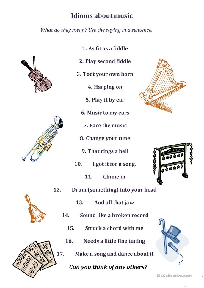 idioms about music worksheet