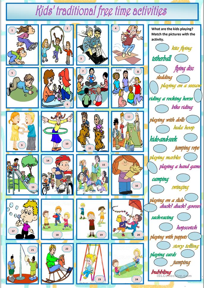 Kids' traditional free time activities worksheet - Free ...