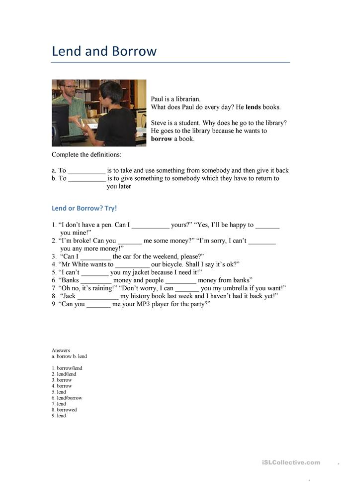 Lend and Borrow - ESL worksheets