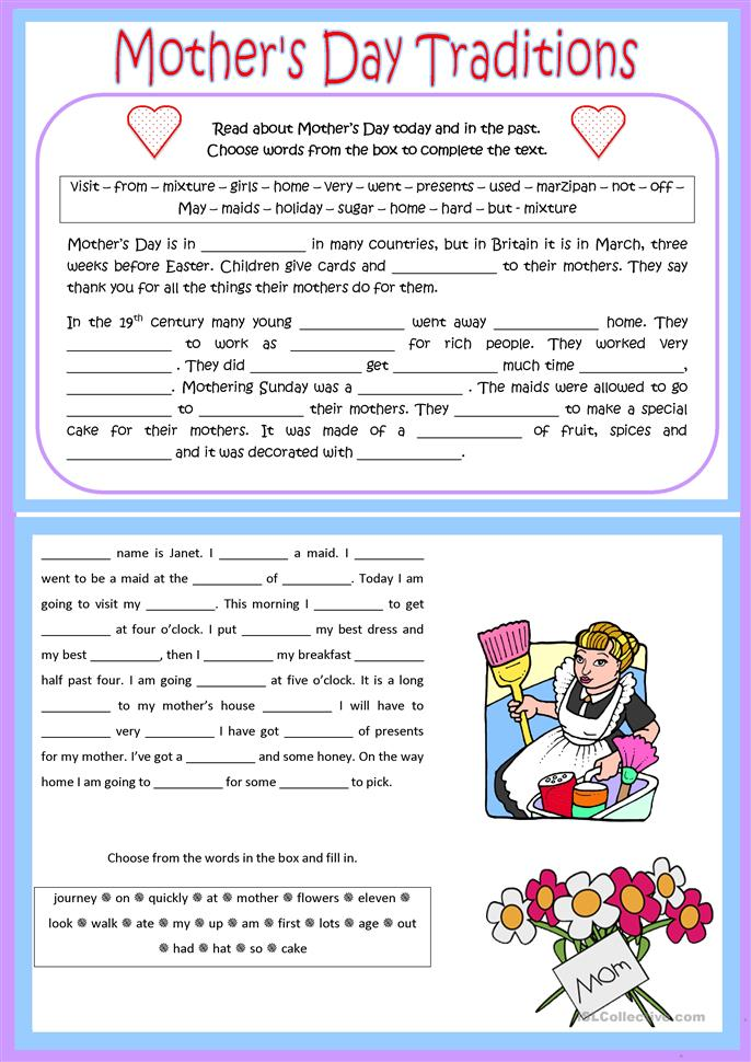 Mother's Day Traditions - ESL worksheets