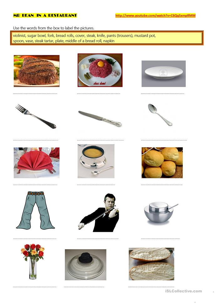 Mr Bean eating out (past simple)  - ESL worksheets