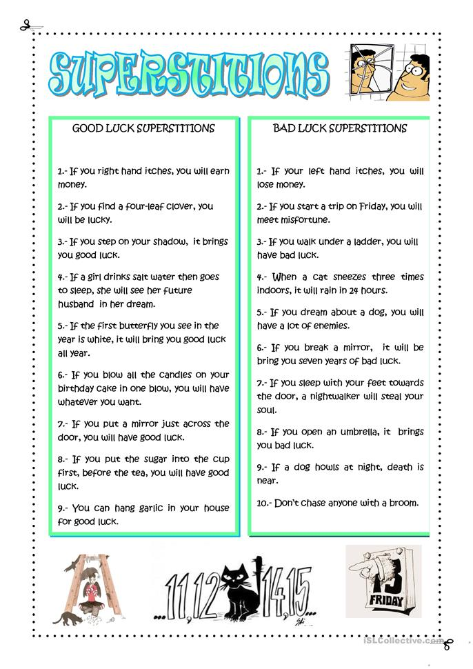 30 Free Esl Superstitions Worksheets