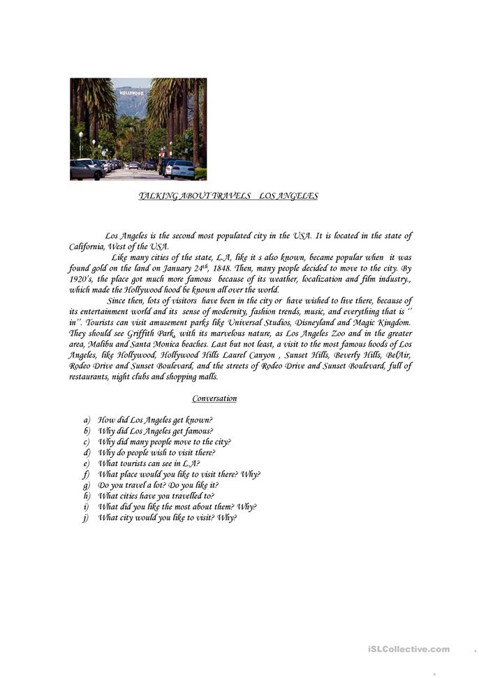 Talking About Travels - Los Angeles - ESL worksheets