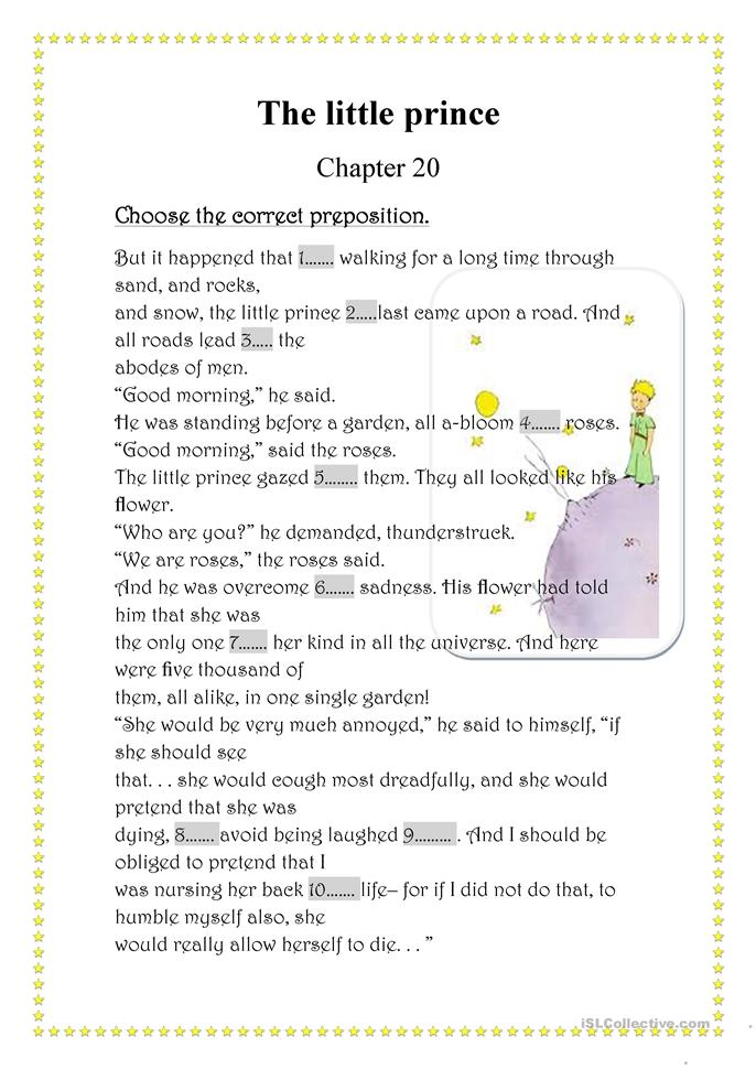 the little prince worksheets pdf