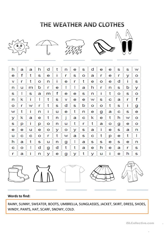 THE WEATHER AND CLOTHES worksheet - Free ESL printable ...