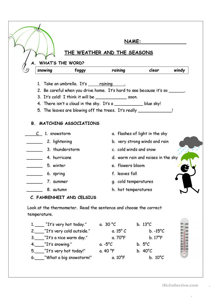 The Weather and the Seasons - ESL worksheets