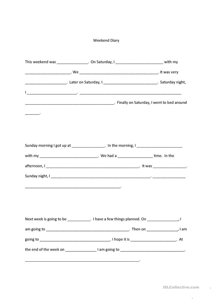 teacher diary template - weekend diary template worksheet free esl printable