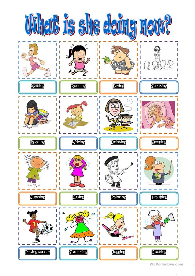 what is she doing now worksheet free esl printable