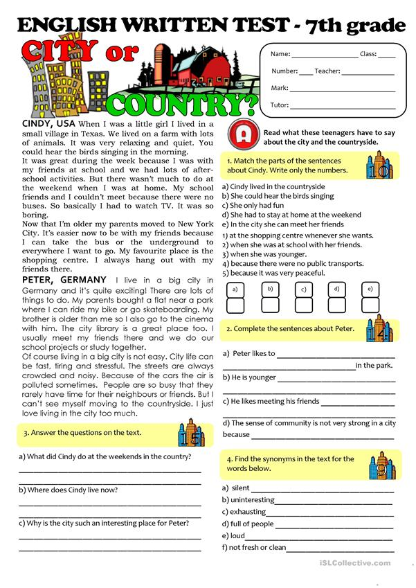 CITY Vs COUNTRYLIFE TEST 7th Grade Worksheet Free