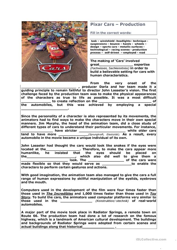 Film Cars English Esl Worksheets For Distance Learning And