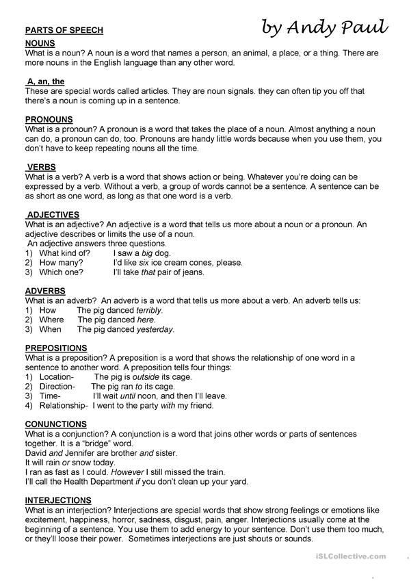 Parts of speech   English ESL Worksheets for distance ...
