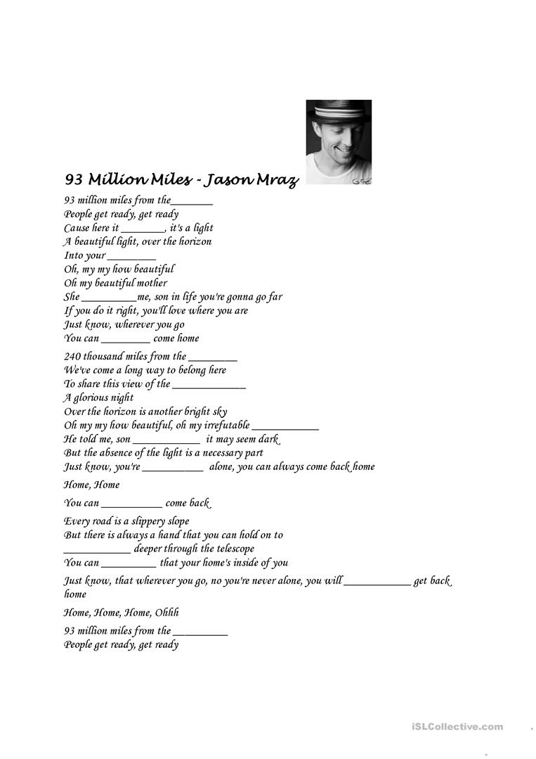 93 Million Miles Jason Mraz English Esl Worksheets For Distance Learning And Physical Classrooms
