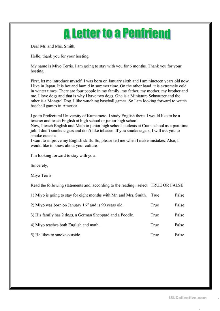 11 free esl pen friend worksheets a letter to a penfriend thecheapjerseys Images