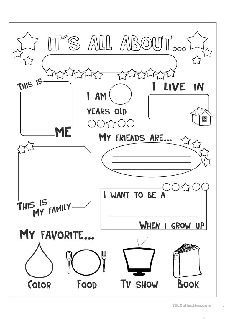 picture relating to All About Me Printable Worksheet referred to as all with regards to me - English ESL Worksheets