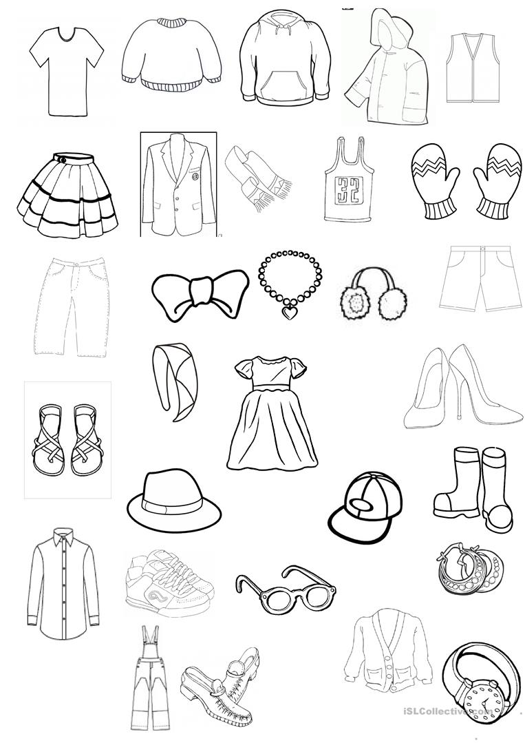 Colouring on worksheets - Clothing Colouring Worksheet