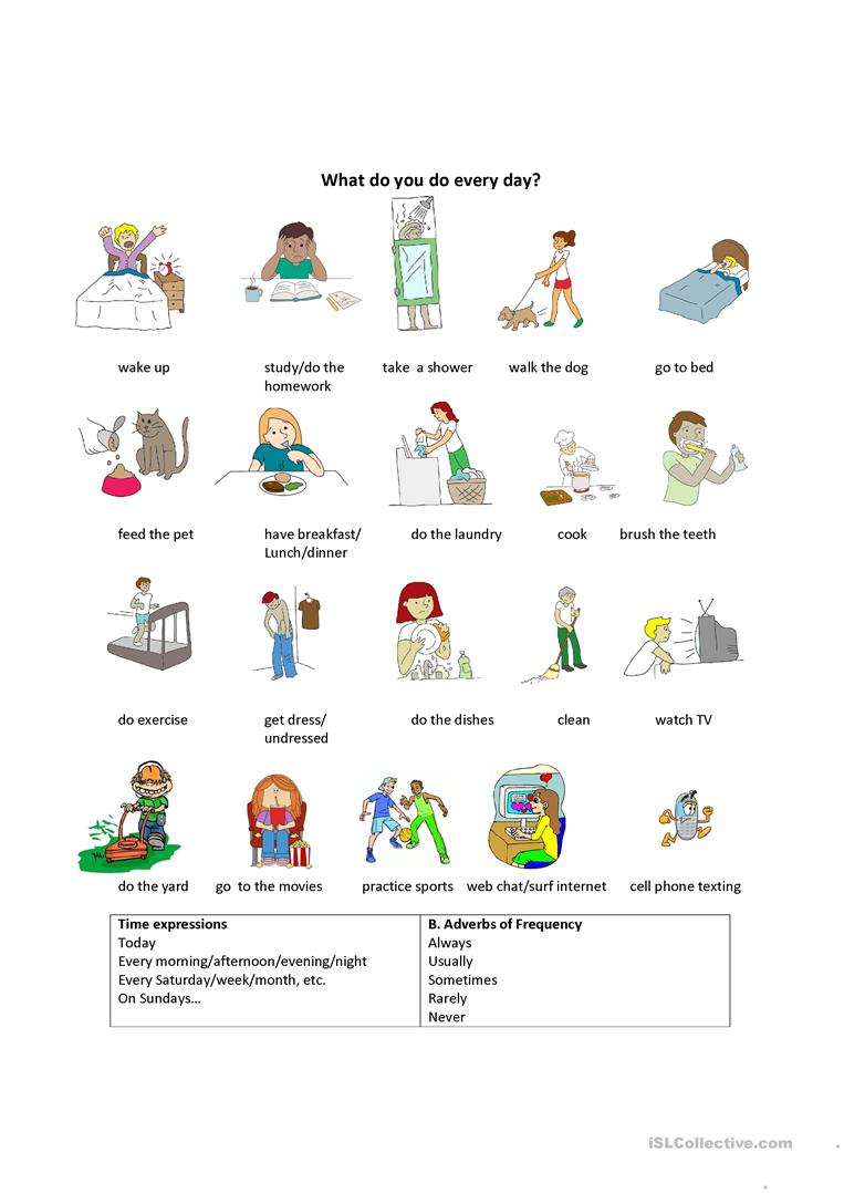 Daily Life Activities worksheet - Free ESL printable worksheets made ...