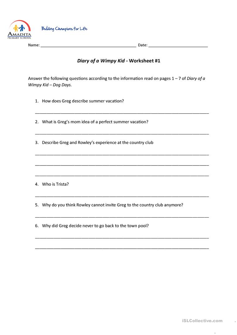 Diary of a Wimpy Kid Dog Days worksheet Free ESL printable – Diary of a Wimpy Kid Worksheets