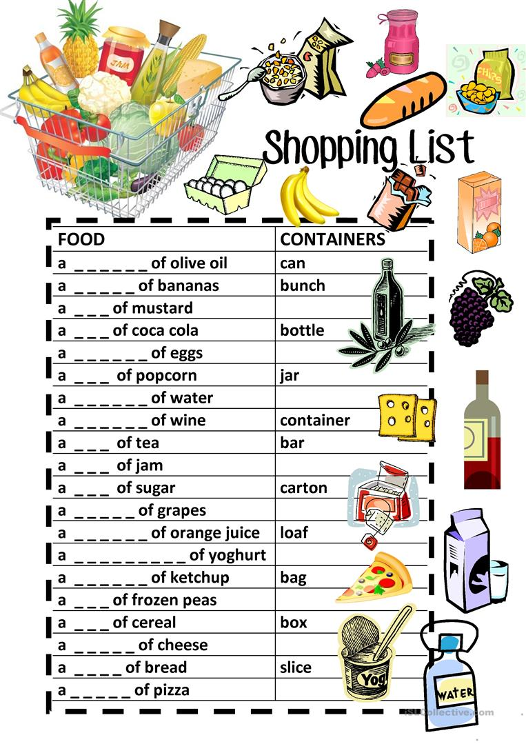 worksheet Grocery List Worksheet 27 free esl shopping list worksheets food containers fill in review