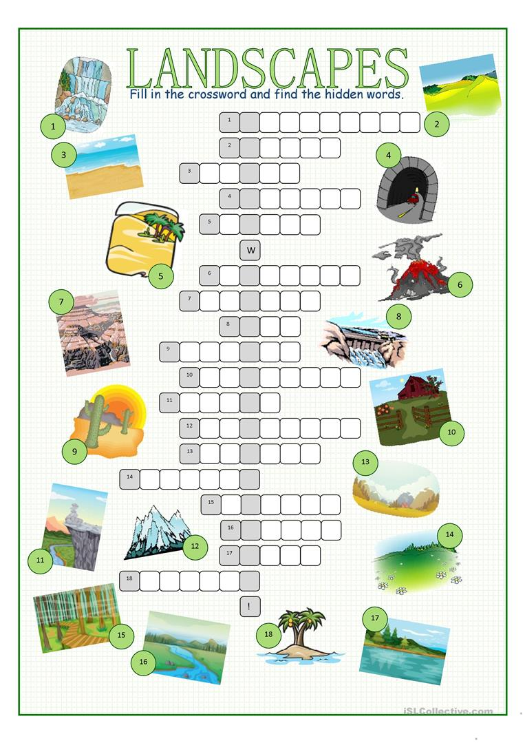 Worksheets Landforms Worksheet 5 free esl landforms worksheets landscapes crossword puzzle