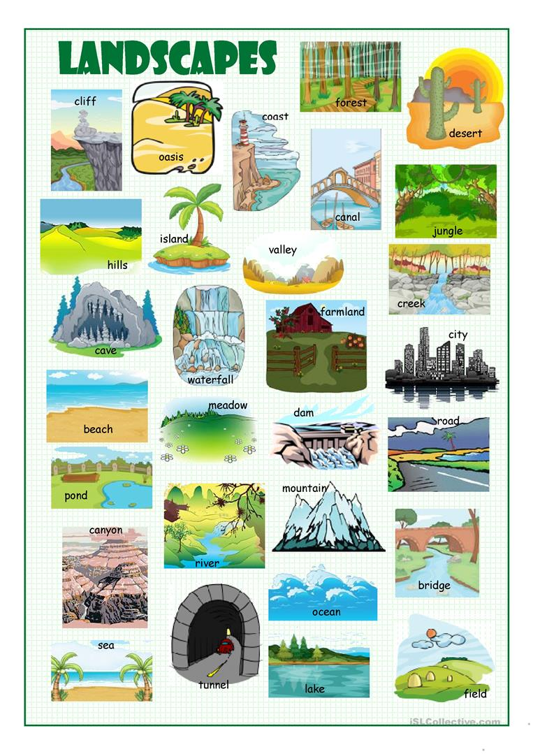 Worksheets Landforms Worksheet 5 free esl landforms worksheets landscapes picture dictionary