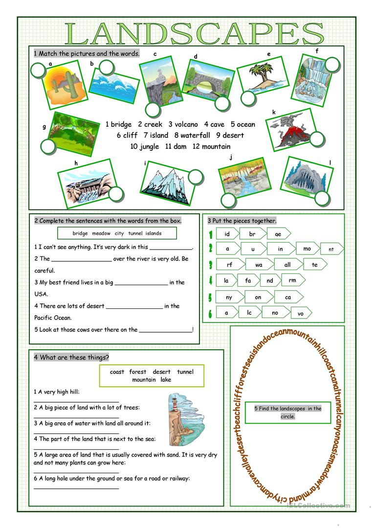 Worksheets Landforms Worksheets 5 free esl landforms worksheets landscapes vocabulary exercises