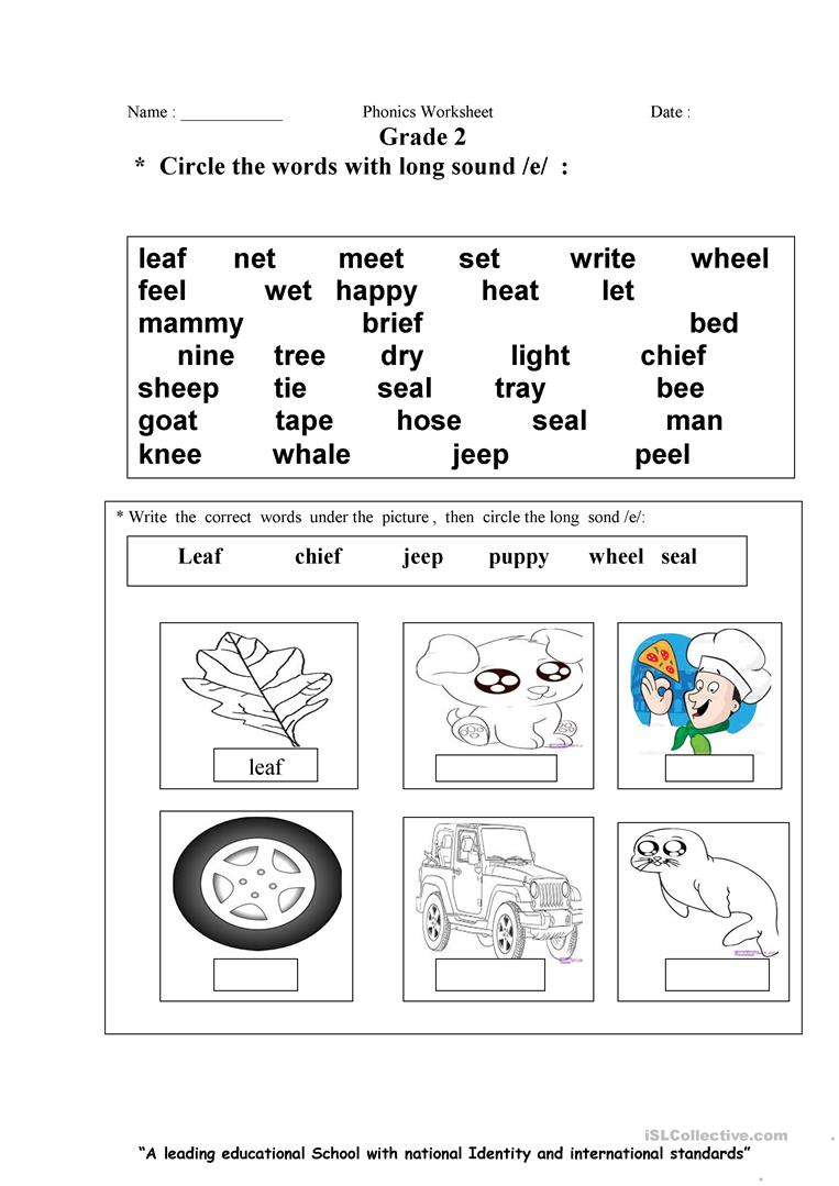 Long e sound worksheet - Free ESL printable worksheets made by teachers