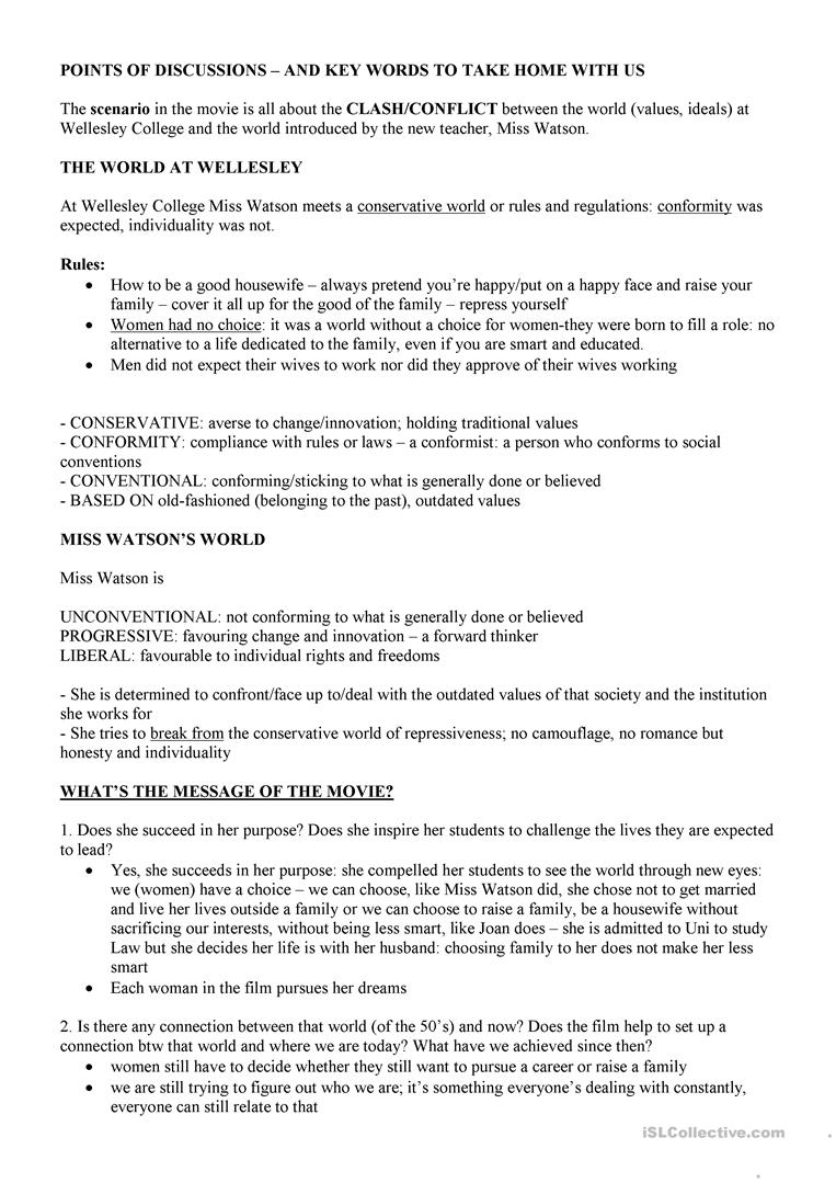 Mona Lisa Smile English Esl Worksheets For Distance Learning And Physical Classrooms