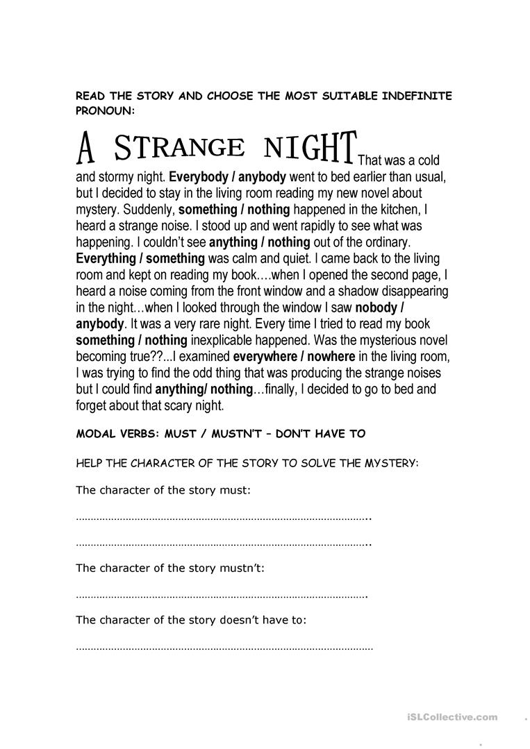 - Mysterious Story - English ESL Worksheets For Distance Learning
