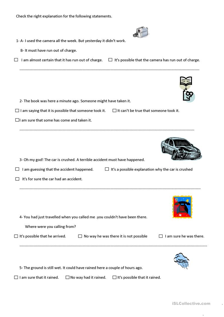 7 free esl certainty worksheets past modals for degrees of certainty robcynllc Image collections