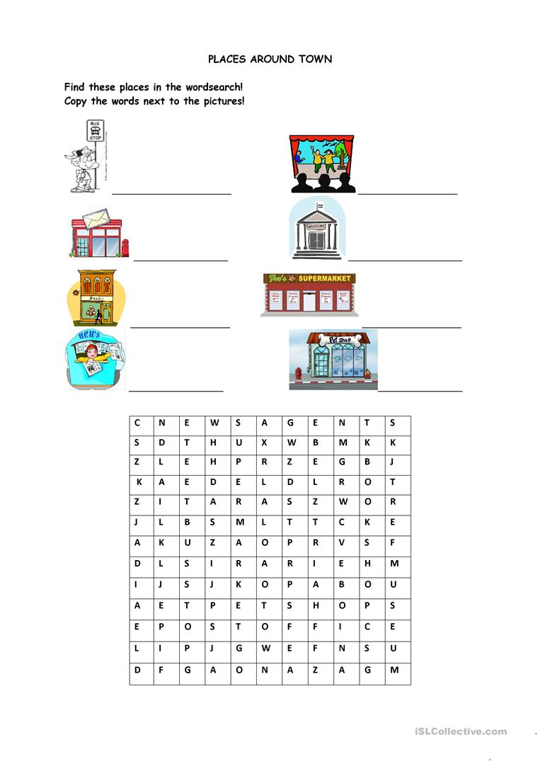 places around town worksheet free esl printable worksheets made by teachers. Black Bedroom Furniture Sets. Home Design Ideas