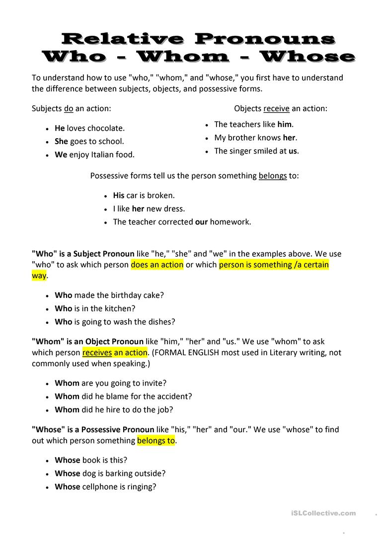 Uncategorized Relative Pronoun Worksheet 10 free esl whom worksheets relative pronouns who whose