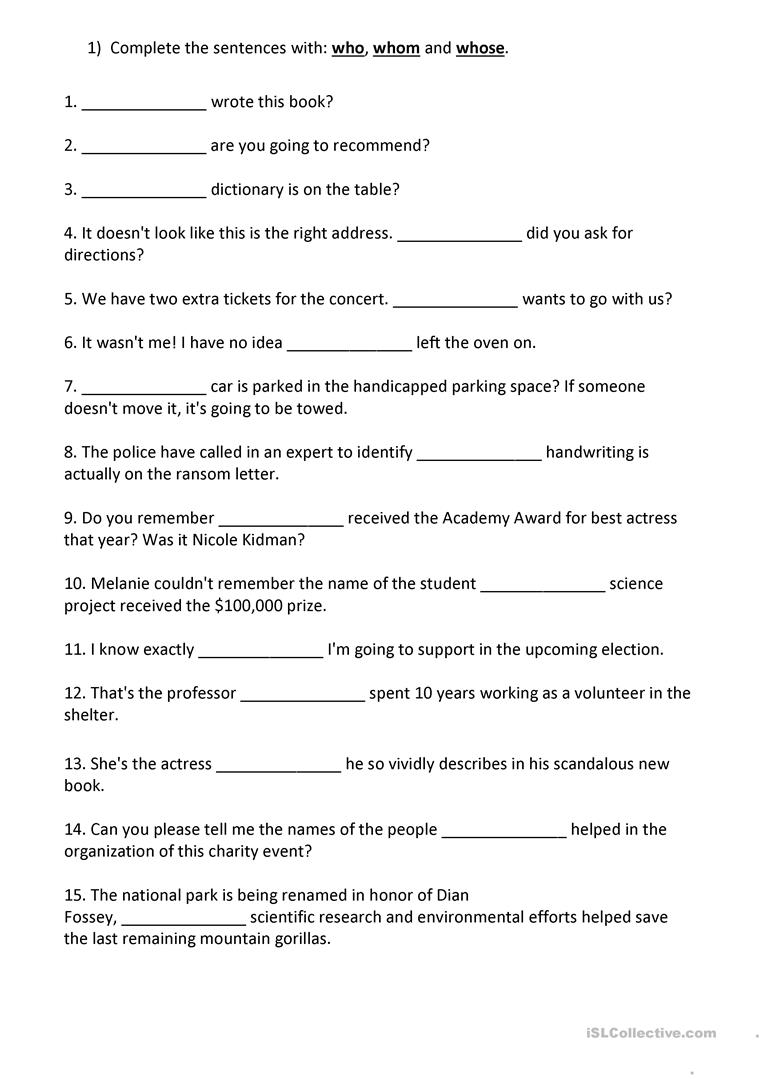 Uncategorized Relative Pronoun Worksheet relative pronouns who whom whose worksheet free esl full screen