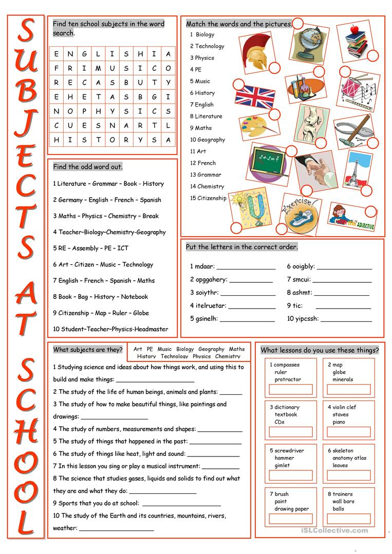 school subjects vocabulary exercises worksheet free esl printable worksheets made by teachers. Black Bedroom Furniture Sets. Home Design Ideas
