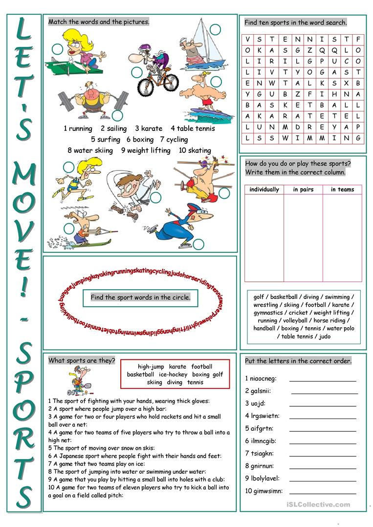 Sports Vocabulary Worksheet: 27 free esl sports vocabulary worksheets,