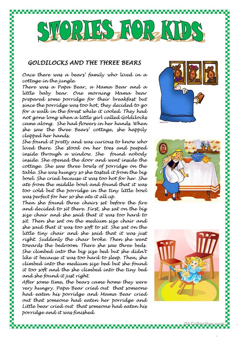 - STORIES FOR KIDS - English ESL Worksheets For Distance Learning