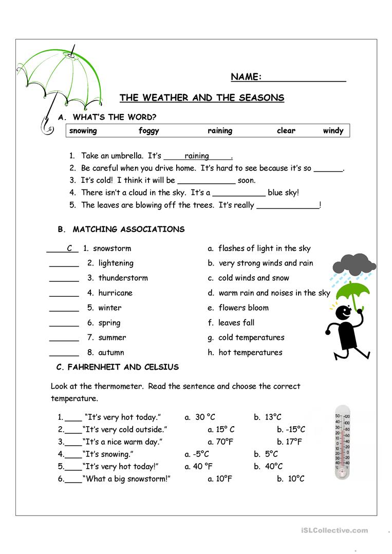 the weather and the seasons worksheet free esl printable worksheets made by teachers. Black Bedroom Furniture Sets. Home Design Ideas