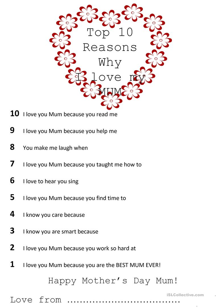 Top 10 Reasons Why I Love My Mom Worksheet Free Esl Printable