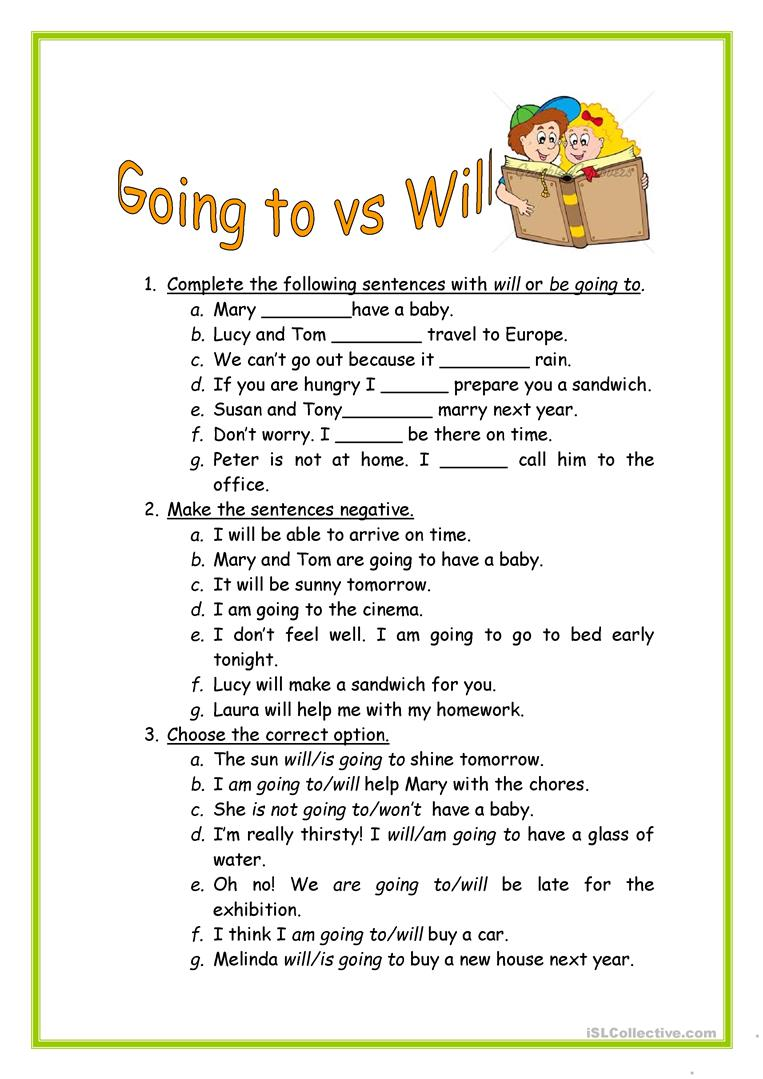 will vs going to worksheet free esl printable worksheets made by teachers. Black Bedroom Furniture Sets. Home Design Ideas