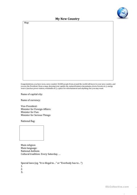 Create Your Own Country Worksheet Free Esl Printable Worksheets