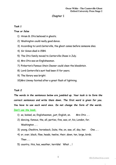 Exercises To The Canterville Ghost Chapter 1 Worksheet Free Esl