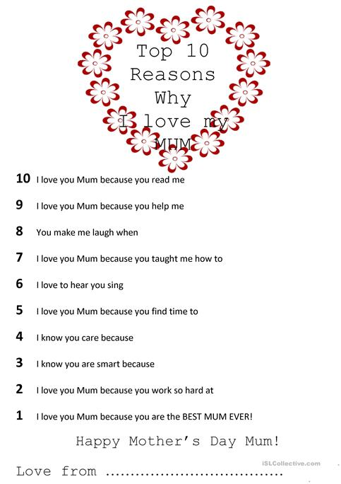 Top 10 reasons why i love my mom worksheet free esl printable top 10 reasons why i love my mom altavistaventures Choice Image