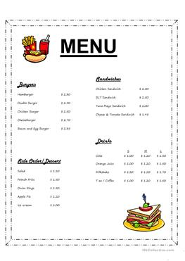 irish menu templates - 17 free esl ordering food worksheets