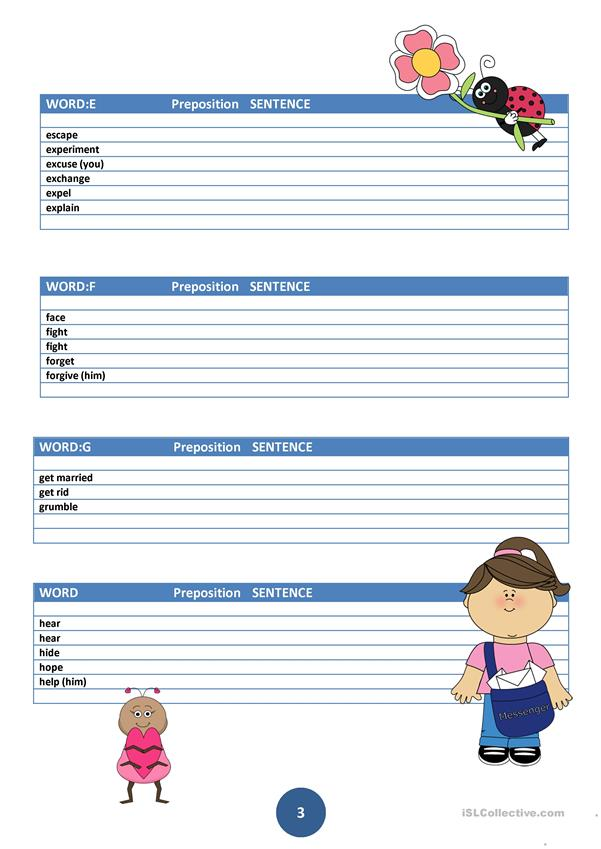 6 page Intermediate Prepositions Fill-In Practice