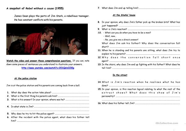 A snapshot of rebel without a cause, activity sheet (eng)